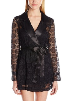 Betsey Johnson Women's Satin and Lace Glam Trench Robe