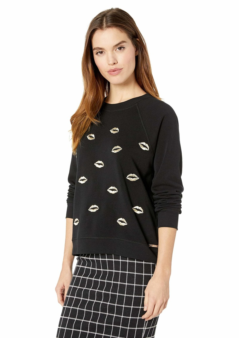 Betsey Johnson Women's Scattered Lips Embroidered Pullover