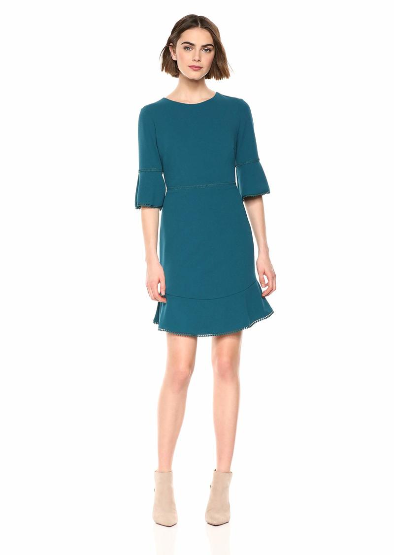 Betsey Johnson Women's Scuba Crepe Dress with Bell Sleeves and Trim Detail