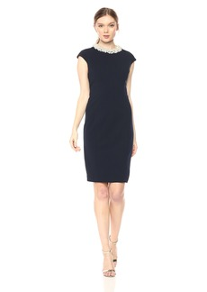 Betsey Johnson Women's Scuba Crepe Dress with Pearl Collar