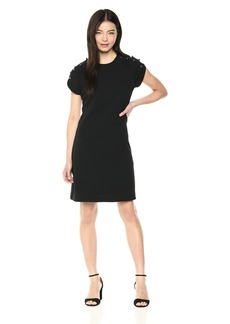 Betsey Johnson Women's Scuba Crepe Dress with Pearls on The Shoulder