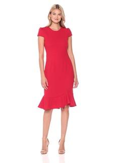 Betsey Johnson Women's Scuba Crepe Dress With Ruffle Hem