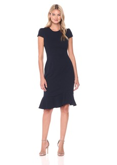 Betsey Johnson Women's Scuba Crepe Dress with Ruffle Hem