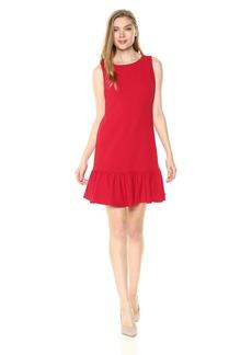 Betsey Johnson Women's Scuba Crepe Dress with Ruffled Hem red