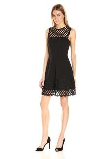 Betsey Johnson Women's Scuba Crepe Lace Combo Fit and Flare Dress