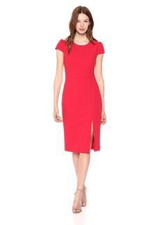 Betsey Johnson Women's Scuba Crepe Midi Dress with Side Slit red