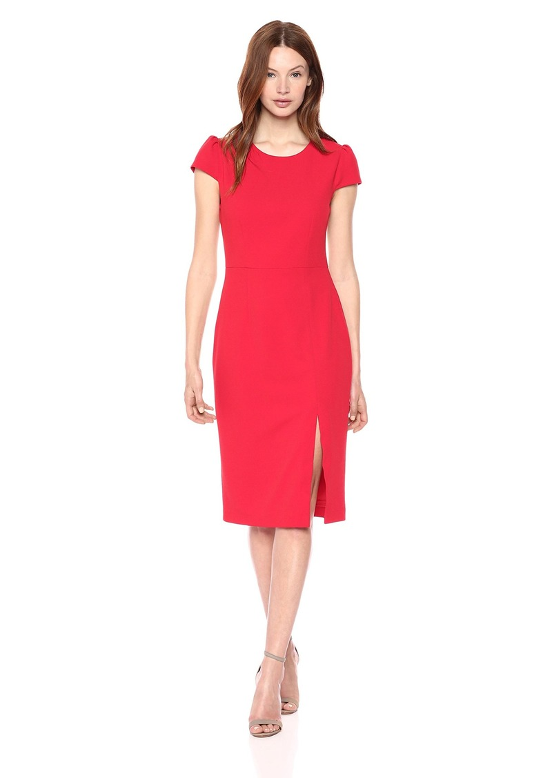 Betsey Johnson Women's Scuba Crepe Midi Dress with Side Slit red