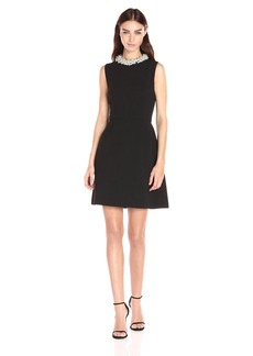 Betsey Johnson Women's Scuba Crepe with Pearl Collar Dress