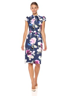 Betsey Johnson Women's Scuba Midi with Neck Tie Dress