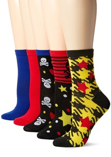 Betsey Johnson Women's Sculls/Stars Patterned Crew Socks 5 Pack