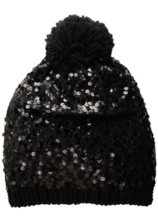 Betsey Johnson Women's Sequin Shine Pom Beanie