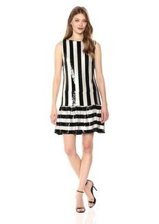 Betsey Johnson Women's Sequin Striped Dress Black/Ivory