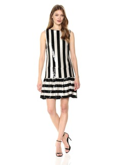 Betsey Johnson Women's Sequin Striped Dress Black/Ivory