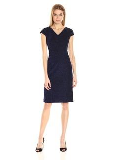 Betsey Johnson Women's Shimmer Blue Textured Knit Sheath Dress
