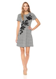 Betsey Johnson Women's Short Sleeve Checked Dress Black/Ivory