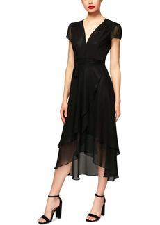 Betsey Johnson Women's Short Sleeve Chiffon V Neck Dress
