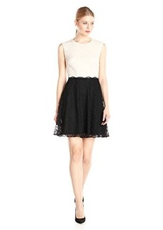 Betsey Johnson Women's Short Sleeve Lace Shift Dress