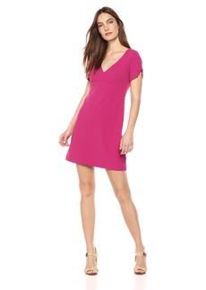 Betsey Johnson Women's Short Sleeve Scuba Crepe Dress with Cherry Lining