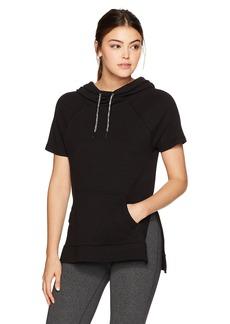Betsey Johnson Women's Short Sleeve Side Slit Hoodie  L