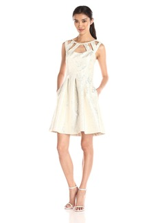 Betsey Johnson Women's Silver Brocade Cage Dress