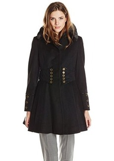 Betsey Johnson Women's Single Breasted Wool Coat with Corset  arge