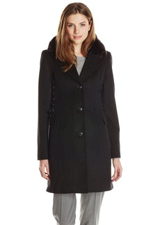 Betsey Johnson Women's Single Breasted Wool Coat with Corset Sides  arge