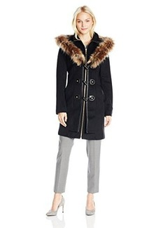 Betsey Johnson Women's Single Breasted Wool Coat with Faux Fur Hood  arge