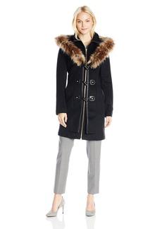 Betsey Johnson Women's Single Breasted Wool Coat with Faux Fur Hood