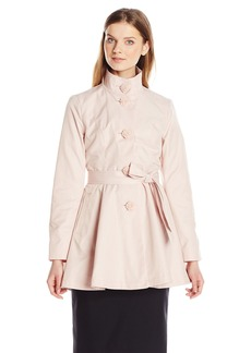 Betsey Johnson Women's Skirted Trench Coat with Buttons