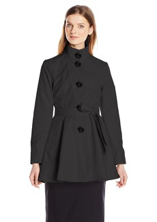 Betsey Johnson Women's Skirted Trench Coat with Rose Buttons  arge