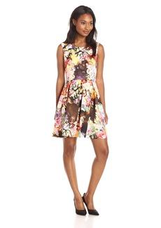 Betsey Johnson Women's Sleeveless Fitted Bodice Pleated Skirt Dress