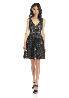 Betsey Johnson Women's Sleeveless Pleated Skirt Fit and Flare Dress