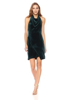 Betsey Johnson Women's Sleeveless Velvet Mock Neck Dress