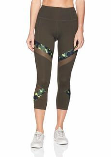 Betsey Johnson Women's Sold Print Mesh Crop Legging  Extra Large