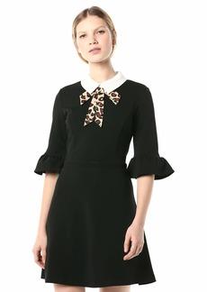 Betsey Johnson Women's Stretch Crepe Dress with Leopard Necktie