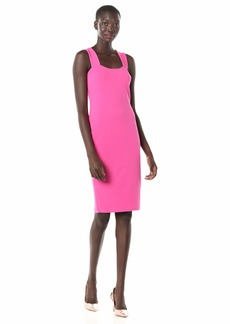 Betsey Johnson Women's Stretch Crepe Midi Dress with Exposed Zipper