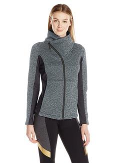 Betsey Johnson Women's Sweater Fleece Asymmetrical Zip Jacket  L