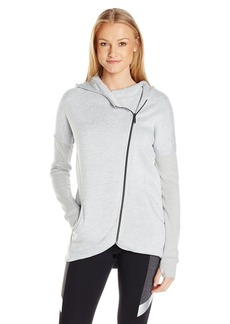 Betsey Johnson Women's Sweater Knit Fleece Back Hooded Jacket  L