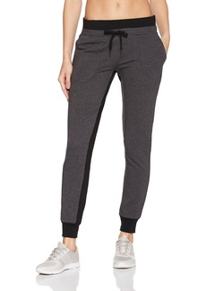 Betsey Johnson Women's Sweatpant Charcoal Heather Grey with Black Contrasts
