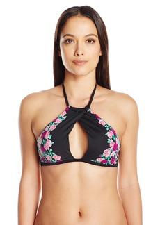 Betsey Johnson Womens Swimwear Women's Ballerina Rose Halter Bikini Top  M
