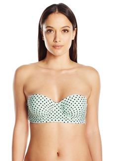 Betsey Johnson Womens Swimwear Women's Duo Dot Molded Underwire Bra Bikini Top  L