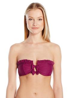 Betsey Johnson Womens Swimwear Women's Malibu Solids Bandeau Strapless Swimsuit Bikini Top  S