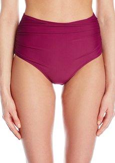 Betsey Johnson Womens Swimwear Malibu Solids High Waist Bikini Bottom  M