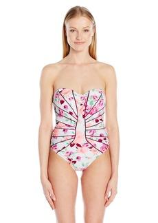 Betsey Johnson Womens Swimwear Prisoner of Love One Piece Swimsuit  L