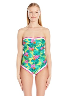 Betsey Johnson Womens Swimwear Topical Escape One Piece Swimsuit LM/Pink M