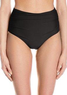 Betsey Johnson Womens Swimwear Women's Malibu Solids High Waist Bikini Bottom  L
