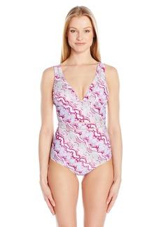 Betsey Johnson Womens Swimwear Women's Smooth Operator One Piece Swimsuit  L