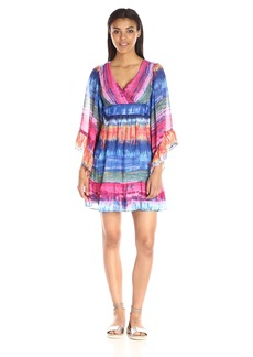Betsey Johnson Women's Tie Dye Stripe Chiffon Boho Dress