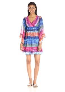 Betsey Johnson Women's Tie Dye Stripe Chiffon Boho Dress