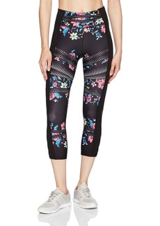 Betsey Johnson Women's Tribal Floral Cutout Crop Legging Sueded  L
